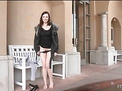 Girlie is widening lengthy legs wide and pushes marital-device in aperture