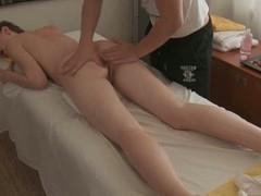 Charming darling gives fantastic blow job sucking after massage