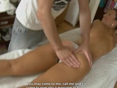 Young masseur is getting a hard boner from massaging hottie